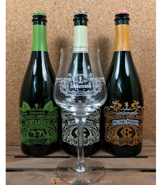 Lindemans Botanical Lambic Series (3-pack) + Lindemans Teku-Glass 25 cl