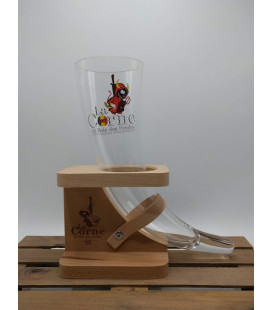 La Corne Belgian 2018 (horn) Glass in Wooden Holder 33 cl