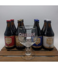 Chimay Trappist Brewery Pack (8x33cl) + FREE Chimay Glass