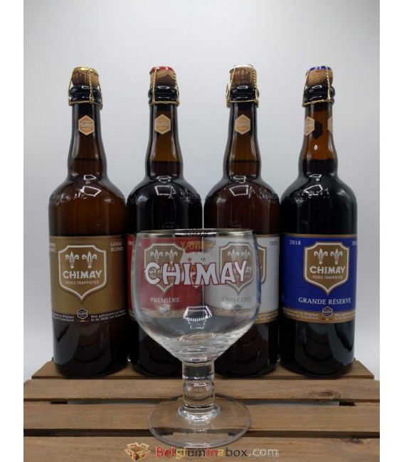Chimay Trappist Brewery Pack (4x75cl) + FREE Chimay Trappist Glass