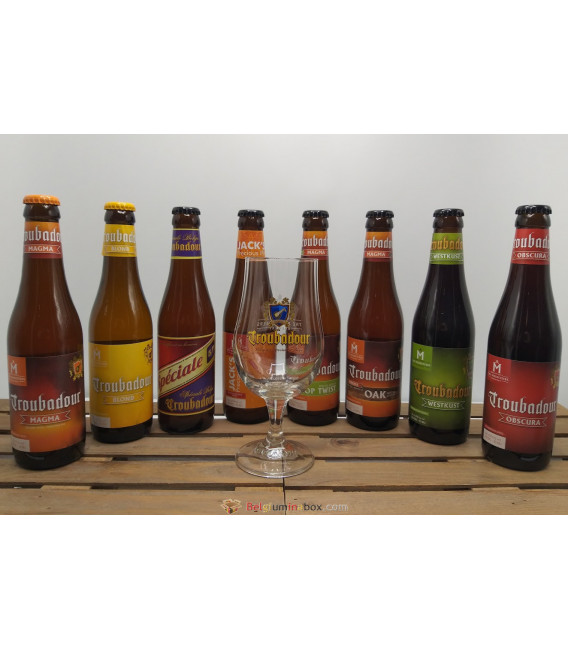 Troubadour Brewery Pack (8x33cl) + FREE Troubadour Glass 25 cl