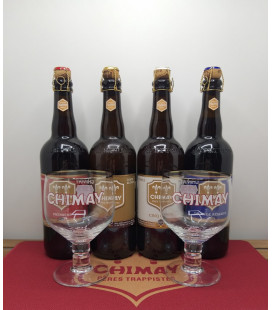 Chimay Brewery Pack (4x75cl) + 2 Chimay Glasses + FREE Chimay Barmat
