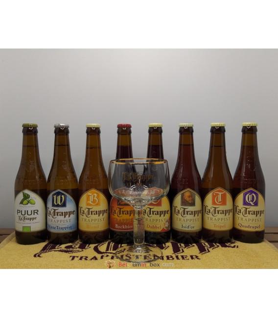 La Trappe Brewery Pack (8x33) + La Trappe Glass + FREE La Trappe Bartowel