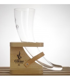 La Corne Glass (horn) in Wooden Holder 33 cl